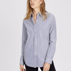 Theory Striped Larissa Button Front Shirt Top